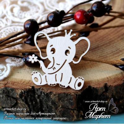 Слоненок с цветочком РАЗМЕР: 4,2х3,9см