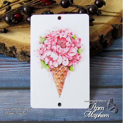 Карточка Рожок с цветами, Фон: белый, покрытие: шагрень  РАЗМЕР: 8,6 х 5,5 см