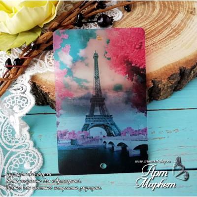 Карточка Париж, Фон: Полу-прозрачный, покрытие: шагрень РАЗМЕР: 8,6 х 5,5 см