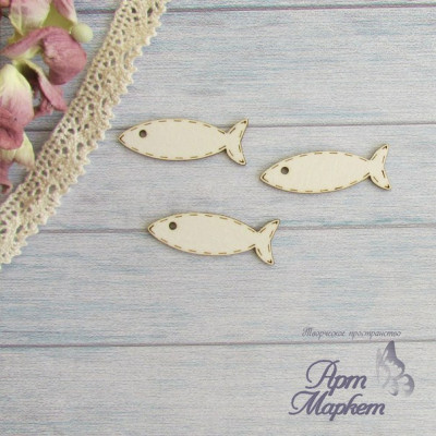РЫБКИ, 3 шт, размер каждой рыбки 3,5х1,2 см