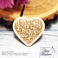 Чипборд Сердце с узором РАЗМЕР: 6х5,5 см