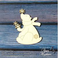 Мишка со снежинками РАЗМЕР 5,9 х 4,6 см
