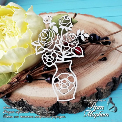 Чипборд Розы в вазе РАЗМЕР: 8х5,5 см