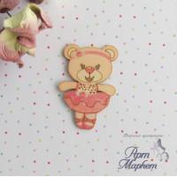 Мишка балерина цветной чипборд 5х3,3 см