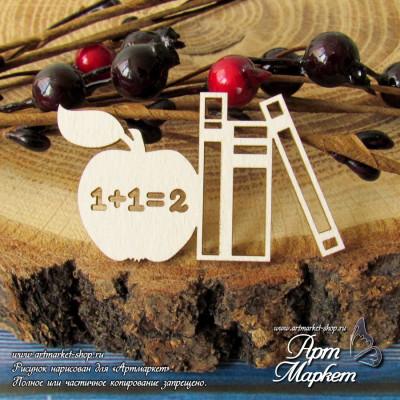 Яблоко и учебники РАЗМЕР: 5х3см