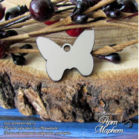 Бабочка подвеска(ПЛАСТИК СЕРЕБРО) РАЗМЕР: 2,5х2 см