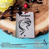 Шильд Passport с девушкой(ПЛАСТИК СЕРЕБРО) РАЗМЕР: 6х4 см