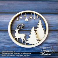 Новогодний шейкер с оленем, РАЗМЕР: 7,5 х 7,5 см