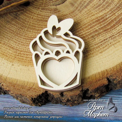 Капкейк сердце, шейкер, 4 элемента РАЗМЕР: 5,5 х 3,7 см