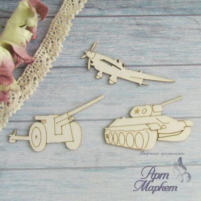Танк, самолёт и орудие. Набор 3 шт, размер фигур 5-5,5 см