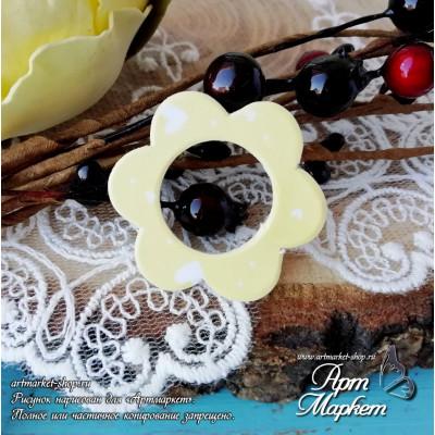 Чипборд с покрытием Цветок(ЖЕЛТЫЙ) РАЗМЕР: 3,4х3,1 см