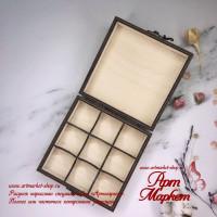 Коробка для 9 конфет из фанеры 13х13х4 см