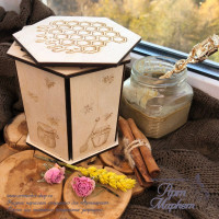 Коробка из фанеры для меда. 12х14х14 см.