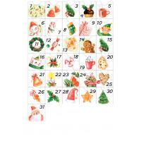 Наклейки для Адвент-календаря в красно-зеленой гамме РАЗМЕР: А4