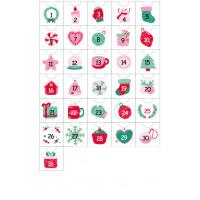 Наклейки для Адвент-календаря в розово-мятной гамме РАЗМЕР: А4