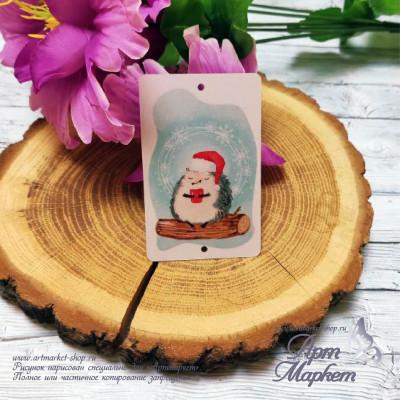Пластиковая карточка Еж с чаем РАЗМЕР: 5,4х8,5 см