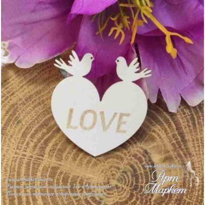 Сердце LOVE с птичками РАЗМЕР: 3,8x4,2 см